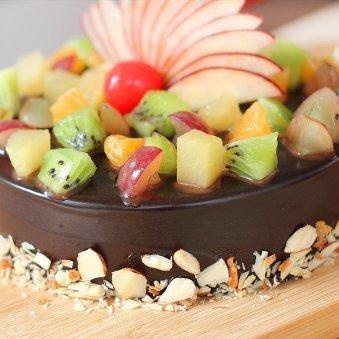 Fruit Filled Chocolate Cake - Zoom View