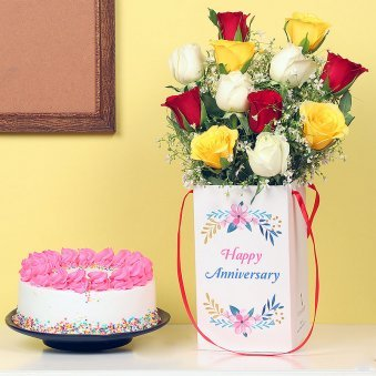 Bunch Of Mixed Roses In A Box With Cake Anniversary Combo