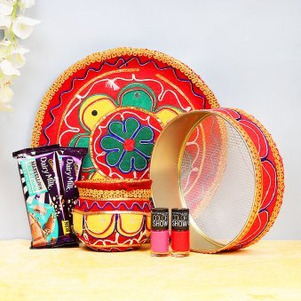 Karwa Chauth Thali Set with Chocolates and Nail Paints