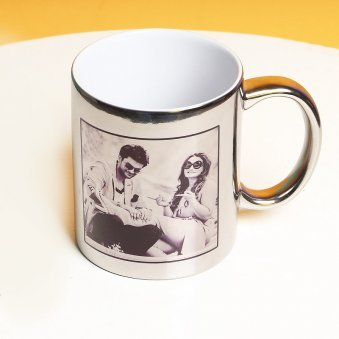 Personalised Silver Reflective Love Mug
