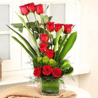 Red Roses Arrangement in Square Vase
