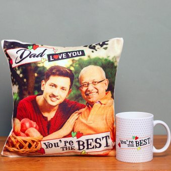 Fathers day Personalised Cushion with Mug Combo for Dad