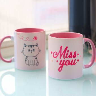 Miss You Printed Mug with Both Side View