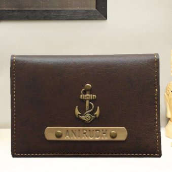 Elegant Dark Brown Personalized Folding Card Holder