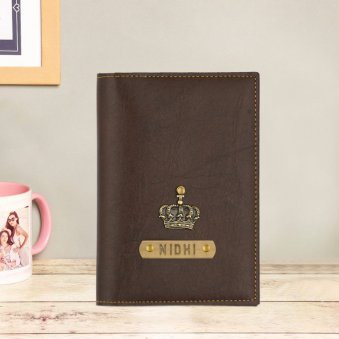 Dark Brown Personalised Passport Cover