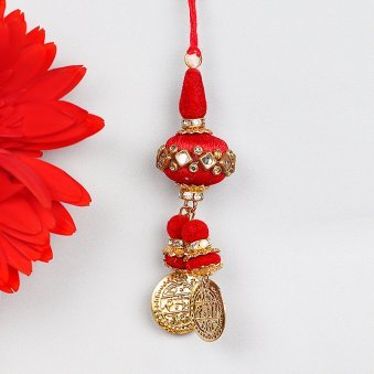 Red Latkan Rakhi for Bhabhi