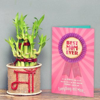 Jute Wrapped Bamboo in Glass Vase for Mother with a Card