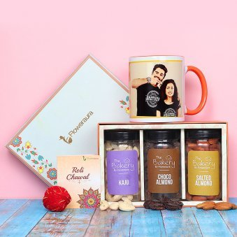 One Printed Mug Kaju Choco Almonds Salted Almonds in Plastic Jar Roli Tikka and Kalawa
