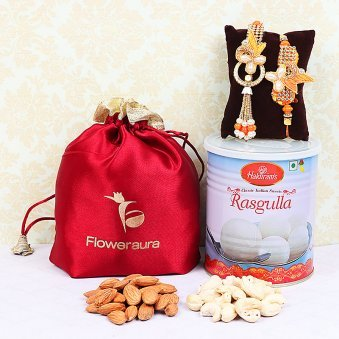 Bhaiya and Bhabhi Rakhi Set with Rasgulla and Five Hundred Grams Dry Fruits