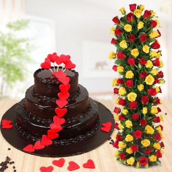 Deluxe Glazed Happiness - 3 tier chocolate cake and 50 mixed roses combo