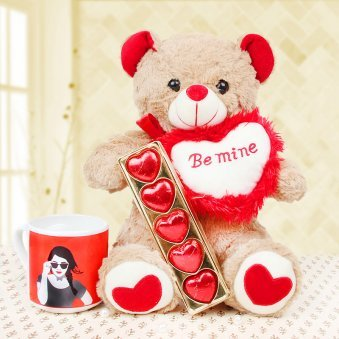 Chocolates and teddy with a mug combo