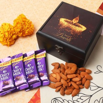 Diwali Chocolate Gift Pack of Dry Fruits and Wooden Box