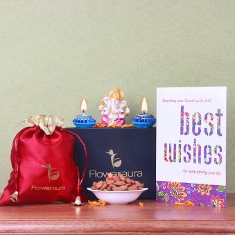 250gm Almonds 2 Diyas One Greeting Card 3 Inch Ganesha Idol