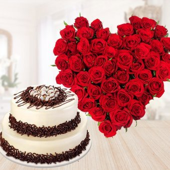 Double Deck Combo - 2 tier choco vanilla cake with 35 red roses bouquet