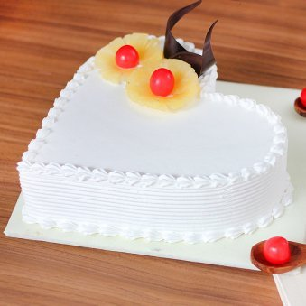 Dream Come True - Heart Shaped Pineapple Cake with Side View