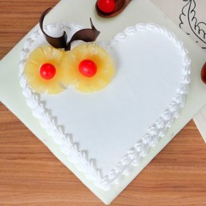 Dream Come True - Heart Shaped Pineapple Cake with Top View