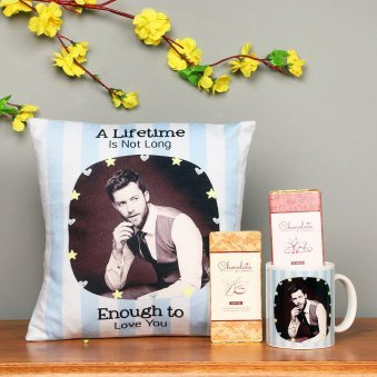 Personalised Cushion and Mug with Handmade Chocolates Combo