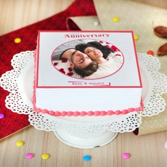 Marriage Anniversary Photo Cake - Zoom View