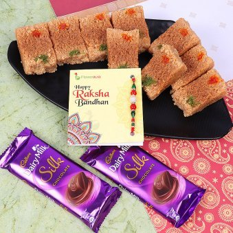 Rakhi with Two Dairy Milk Silk and Half Kg Milk Cake