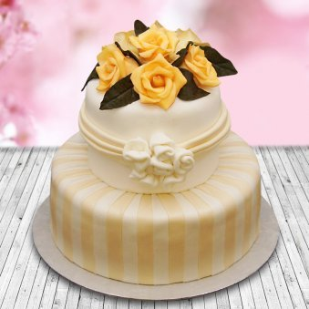 Exquisite Rose Cake - A two tier fondant cake