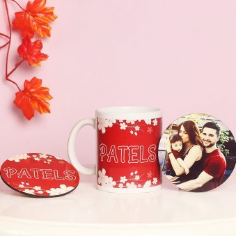 Combo of Personalised Coasters with Personalised Mug