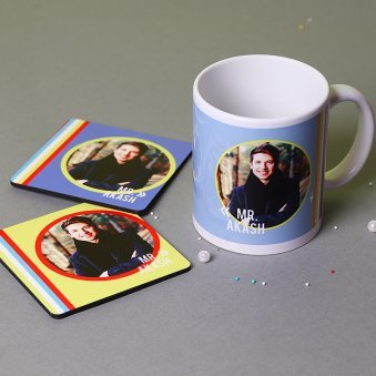 Personalized Mug and Two Coasters Combo