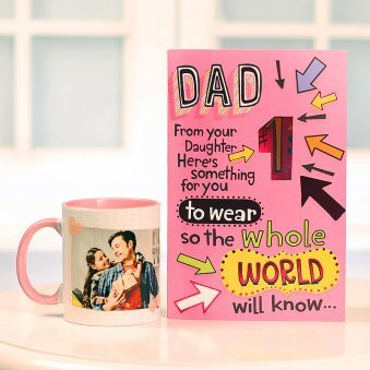 Fathers day Greeting Card with Personalised Mug Combo for Dad