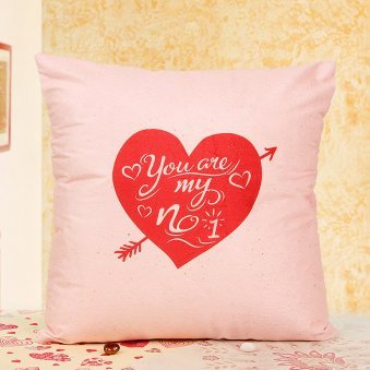 One Cushion with Heart Shaped Print with Quote