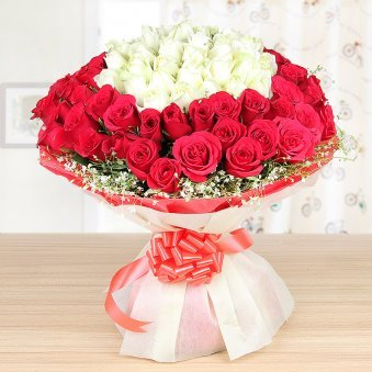 Fifty-Fifty Love - Bunch of 25 Red and 25 white roses