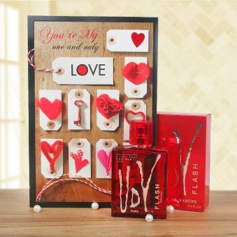 Flashy love with perfume and greeting card