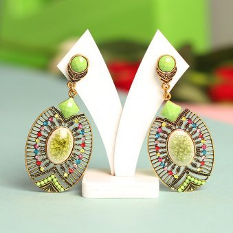 Flat Oval, antique gold plated Drop Earrings