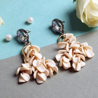 Gold-Plated and Cream-Coloured Floral Drop Earrings