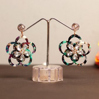 Golden Peacock Multicoloured Floral Drop Earrings