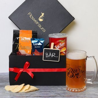 Beer Mug with Chocolates and Snacks