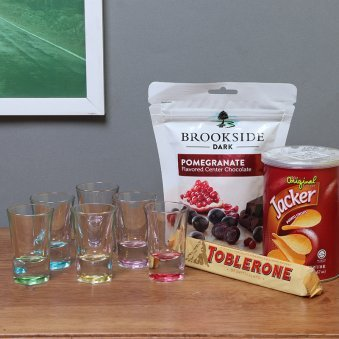 Combo of Shot Glasses with Chocolates and Snacks