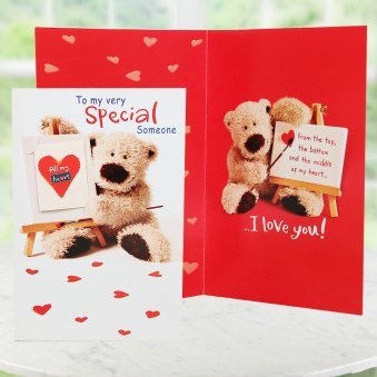 Love Card with Teddy Bear Printed