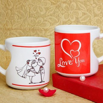Love You Mug with Heart Shaped Handle with Both Sided View