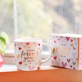 Forever Yours Mug with Printed Hearts