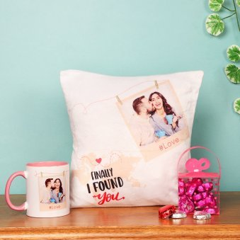 Personalised Love Cushion and Mug with Chocolates Combo