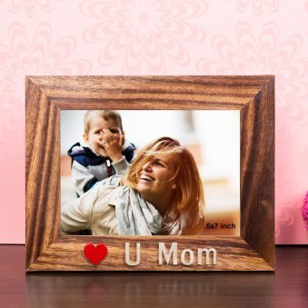 Love U Mom 7X9 Inch Wooden Table Top Photo Frame
