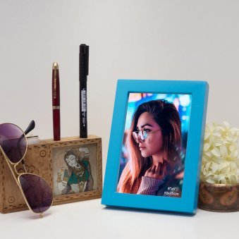 Blue Wooden 4X6 Photo Frame