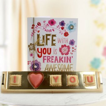 A pack of I Love You handmade chocolate A Greeting Card