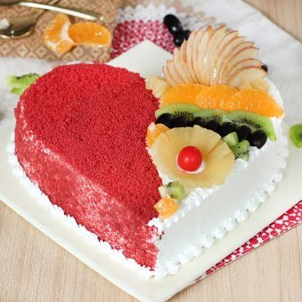 Heart Shape Red Velvet Fruit Filled Cake with Zoomed in View