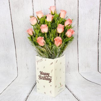 12 Pink Roses Bunch For Birthday