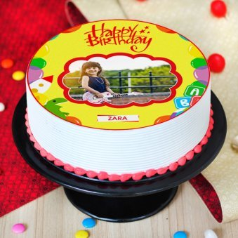 Round Shaped Photo Cake for Kids