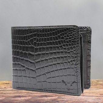 Black Leather Designer Wallet - 11X9 cm