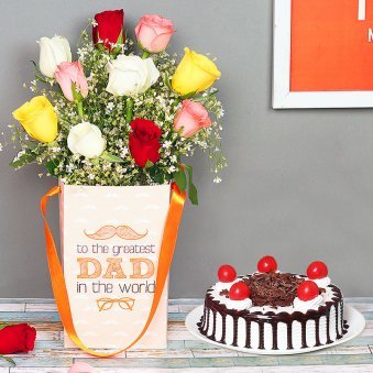 Bouquet of Roses and Cake Combo for Dad