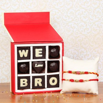 Two Rakhis Set with Nine Handmade Chocolates