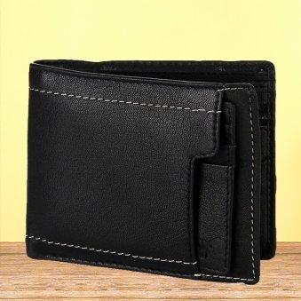 Black Color Leather Wallet - 12X9 cm