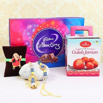 Three Rakhis with One Kg Gulab Jamun and Cadbury Celebrations Pack